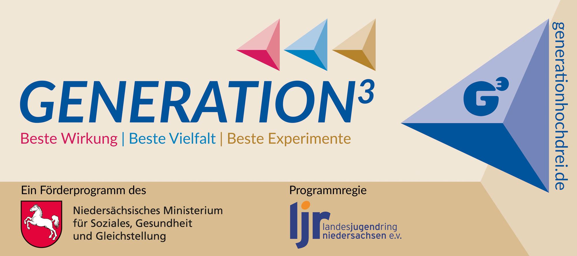 Förderbalken des Förderprogramms Generation³ des Ministeriums für Soziales, Gesundheit und Gleichstellung