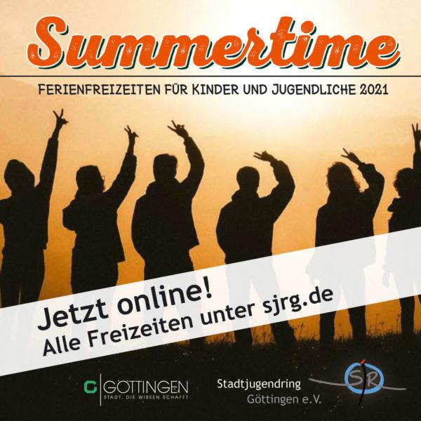 Share Pic für das Summertime 2021 mit der Information, dass die Angeobte dieses Jahr online unter sjrg.de zu finden sind.